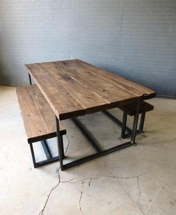 reclaimed industrial chic 68 seater solid wood and metal dining table bar cafe bar restaurant furniture steel wood made to measure 003