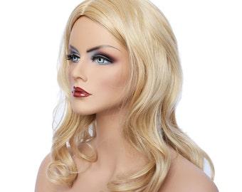 Classic Cap women Synthetic curly wavy Long Blonde wig HengFeng LHL14  SKU: 10C53