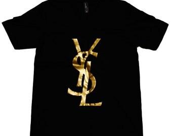 Popular items for ysl tshirt on etsy for Ysl logo tee shirt