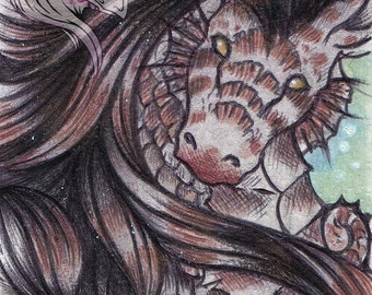 ACEO Original seahorse - Copperfin *~