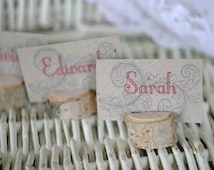 Rustic wedding name card holders, wooden place card holders, SET of 100 natural birch card holders, Shabby Chic decor