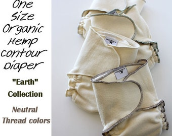 """4 One Size Fits All Certified Organic Hemp/Cotton Contour Diaper """"Earth"""" Collection"""