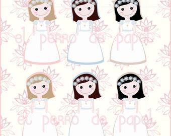 Comunion Girls Clip Arts