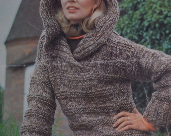 Ladys chunky hooded jumper vintage knitting pattern pdf download pattern only pdf 1970s