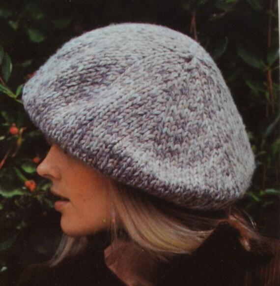 Peaked Cap Knitting Pattern : PDF womens hats vintage knitting pattern beret peaked hat