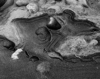 Landscape Photography, River Bank, Sand, Rocks, Mount Rainier, Fine Art Black and White Photography, Wall Art, Home Decor
