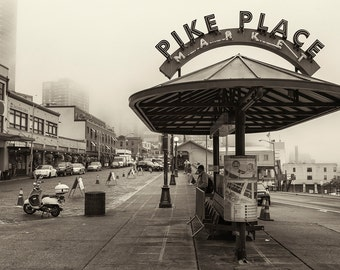 Seattle Photography, Pike Place Market, Fog, Bus Stop, Street Photography, Architecture, Fine Art Black and White, Wall Art, Home Decor