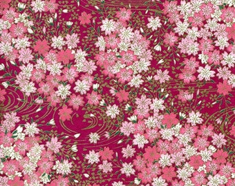 Origami Paper Pack - Traditional Japanese Yuzen/Chiyogami Paper in 6 Inch by 6 Inch (15 cm) Size - Fuchsia Dynasty Pattern (4 Sheets)