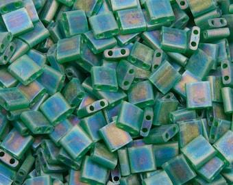 Miyuki Tila beads matte transparent green AB, 5 x 5 x 1, 9 mm, 5 g - TL0146FR