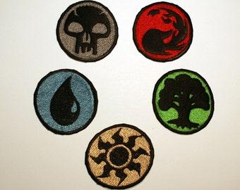MTG Mana Symbol Shiny Metallic Embroidery patch. Basic Land Icon, Magic the Gathering iron on patch.
