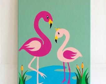 "Custom Nursery Art, Flamingo painting, Flamingo Nursery decor, Baby Girl, Mommy and Baby Flamingo, Pink decor 16 x 12"" original canvas"