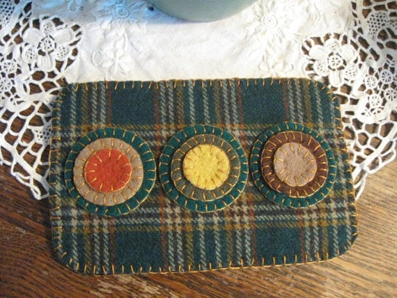 Green Plaid Penny Rug, FAAP, OFG, HAFair