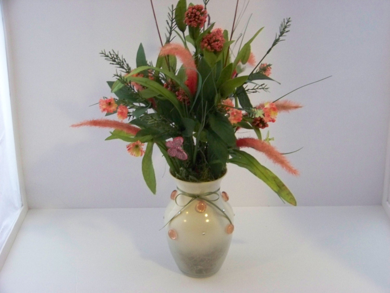 Floral Vase With Artificial Pink Silk Flower Arrangement
