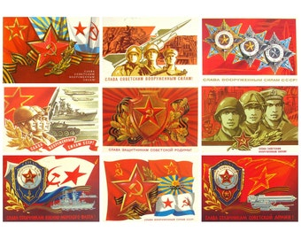 Soviet Army and Navy Day, Soviet Postcard, Set, 23 of February, Soviet Union Vintage Postcard, USSR, Used Postcards, 1970s -1980s