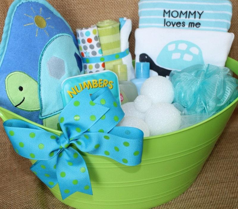 precious turtle bath time gift basket for baby boy. Black Bedroom Furniture Sets. Home Design Ideas