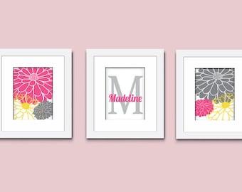 Mum Flowers Art Print, Childrens Art Print, Monogram Art Print, Wall Art, Kids Art Print, 503