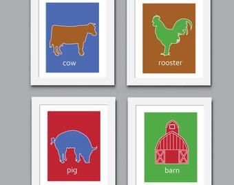 Farm Art Print, Childrens Art Print, Wall Art, Kids Art Print, Farm Animals Print, 522