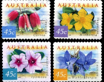 20 Used Australian Flowers Postage Stamps - 5x4 Different