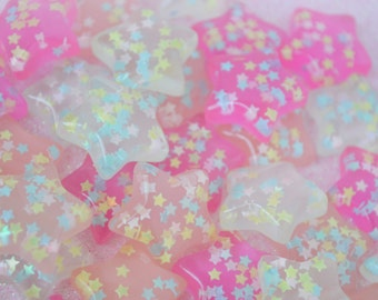 23mm Big Kawaii Pastel Pink Star Decoden Cabochons - 6 piece set