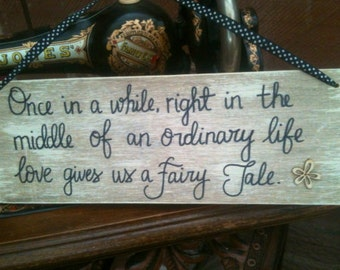 Fairytale Love Wooden Plaque Shabby Chic Natural