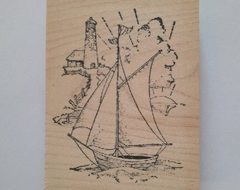 Sailboat with Lighthouse Rubber Stamp - 185M02