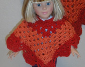 AG Doll Clothes – Crocheted Poncho Child & Doll, orange