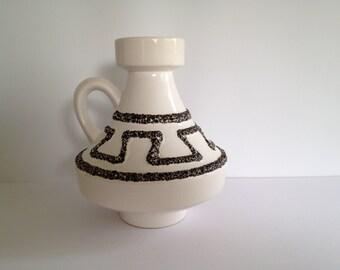 """Ilkra Keramik 2024 - 18 nice handled ,,Ufo """"  vase Mid Century Modern 1960s / 1970s West Germany. WGP."""