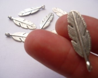 BULK - 30 Antique Silver Feather Charms - 30 x 9mm - BULK1S