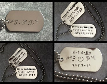 Hand Stamped Personalized Stainless Steel Dog Tag Necklace or Key Chain, In Loving Memory, Childrens Birthdates Gift for Him, Fathers Day