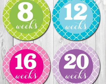 Weekly Pregnancy Stickers, Belly Stickers, Baby Bump Stickers, Maternity Stickers, Tummy Stickers, Weekly Maternity Stickers,