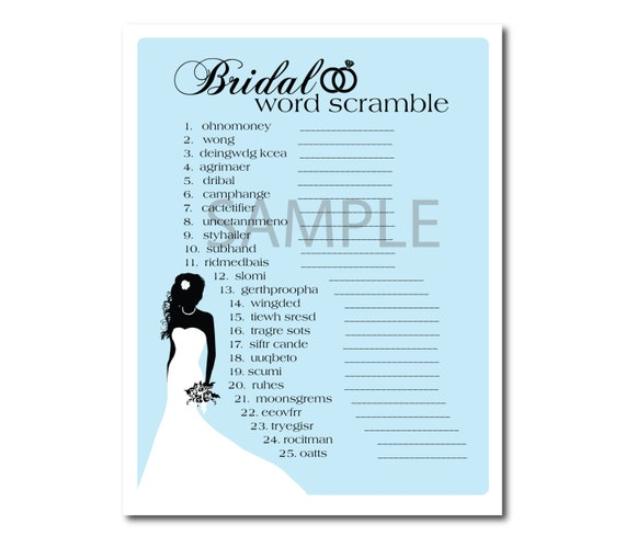 3 Light Blue Bridal Shower Printable Games Word Scramble, Whats in your purse