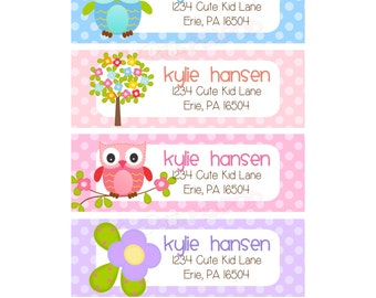 12 Address Labels - Sweet Owls