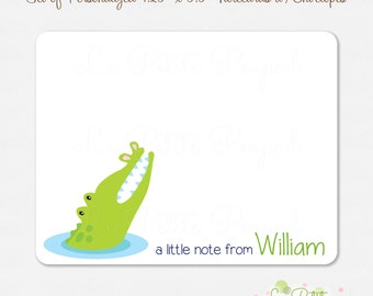 "10 Personalized 4.2"" x 5.5"" Note Cards - Thank You Cards - Alligator Design - kids notecards"