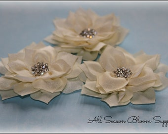 Satin Mesh Flowers, Ivory,  Chiffon Shabby Flowers, With Rhinestone Crystal Center, Flat Back, DIY, Flowers