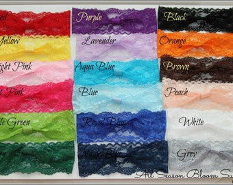 Adult Size!  Choose colors - Lace Elastic - Stretch Lace Headbands - Interchangeable Headbands for Adults-18""