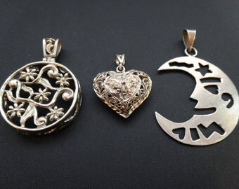 Collection 3 vintage large sterling silver pendant charm necklace moon heart filigree flower cut out boho chic folk romantic funky arrtisan