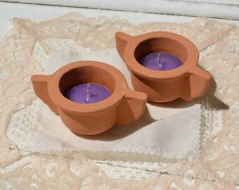 Handmade tealight holder, natural clay tealight older, tea candle holder, teacandle holder,mediterranean wedding decor, rustic home decor