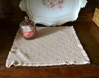 crocheted cotton square doily, rustic home decor, shabby chic home decor, beige home decor, handmade home decor, hand made home decor