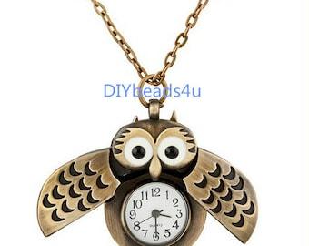 1pc Antique Bronze Owl Pocket Watch Locket Necklace Pendants ---26*40mm