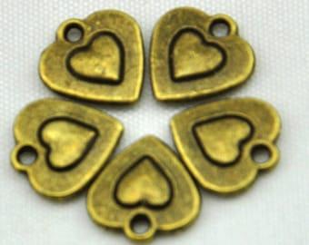 Heart Charms -50pcs Antique Bronze Heart Shape Charm Pendants--10*11mm--G428