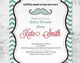 Little Man Baby shower,Invitation boy,Mustache Boy Shower, Mustache Baby Shower Invitation,Boy Baby Shower,digital (Item BS15)