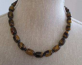 Tigerseye and hematite necklace