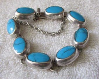 Sterling Silver and Block Turquoise Link Bracelet from Mexico