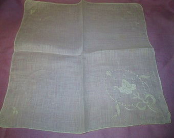 Vintage whtie on white florl wedding hankie embroidery and apllicque