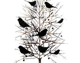 Flock Of Birds in Sharing Tree / The Sharing Tree, Blackbirds in Tree Print, Modern Bird Wall Decor