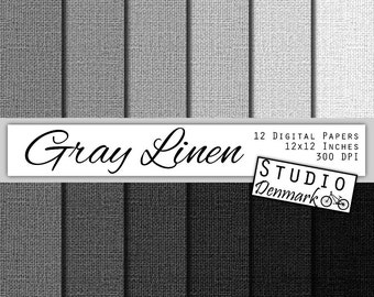 Gray Linen Digital Paper - 12 Shades Grey Linen Paper - Commercial Use - Linen Background - 12in x 12in - 300 dpi JPG - Instant Download