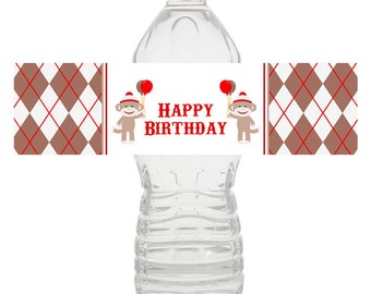 Sock Moneky Water Wrapper, Monkey Birthday Water Bottle, Sock Monkey Party Water Wrapper, Sock Monkey Party Decorations