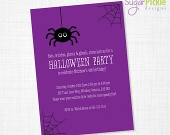 Halloween Birthday Invitation, Halloween Birthday Invites, Halloween Party Invitation, Kids Birthday Party Invitations