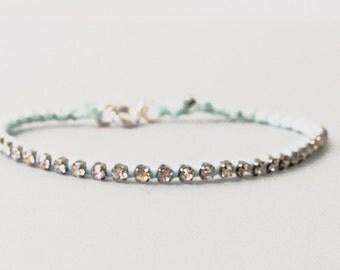 Pastel Blue and Rhinestone Woven Boho Friendship Thread Bracelet