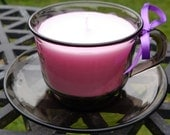Funky retro vintage French Arcoroc teacup candle - lavender scented!